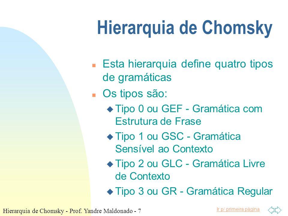 Ir p/ primeira página Hierarquia de Chomsky n Esta hierarquia define quatro tipos de gramáticas n Os tipos são: u Tipo 0 ou GEF - Gramática com Estrut