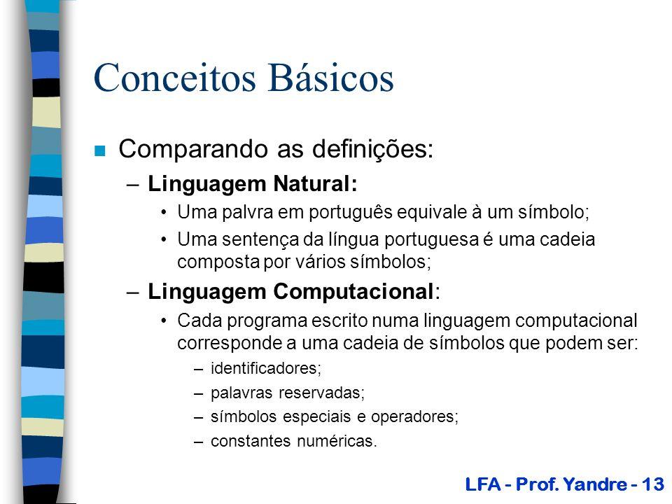 Conceitos Básicos n Comparando as definições: –Linguagem Natural: Uma palvra em português equivale à um símbolo; Uma sentença da língua portuguesa é u