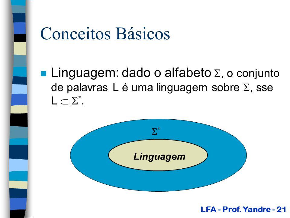 Conceitos Básicos n Linguagem: dado o alfabeto, o conjunto de palavras L é uma linguagem sobre, sse L *. LFA - Prof. Yandre - 21 Linguagem *