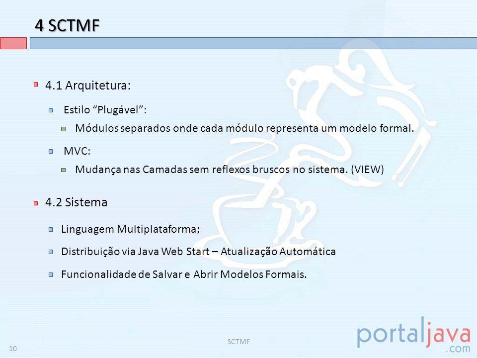 4 SCTMF 4.3 Futuras Implementações: Módulo DEBUG para os modelos formais; SCTMF Interface interativa; Transformação das transições automaticamente para FNC (Módulo GLC); Sistema de Plugins – Sincronização com Servidor Remoto; Correção bugs e otimização da transformação ER AFMV; Conversão de Modelos Formais(AFND AFD, GLC AP, etc.); 11
