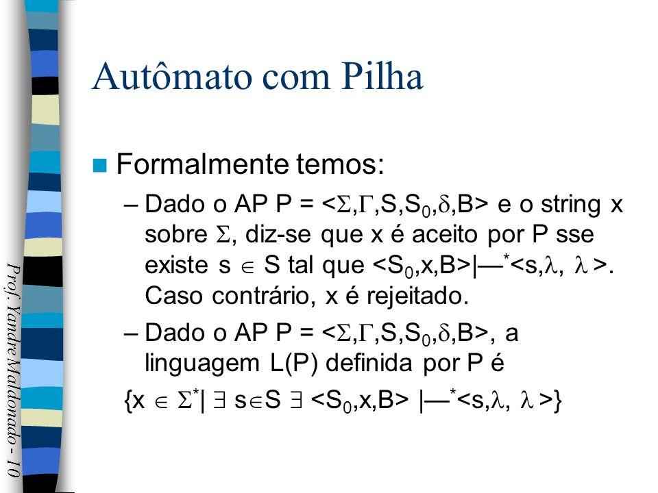 Autômato com Pilha Formalmente temos: –Dado o AP P = e o string x sobre, diz-se que x é aceito por P sse existe s S tal que | *. Caso contrário, x é r