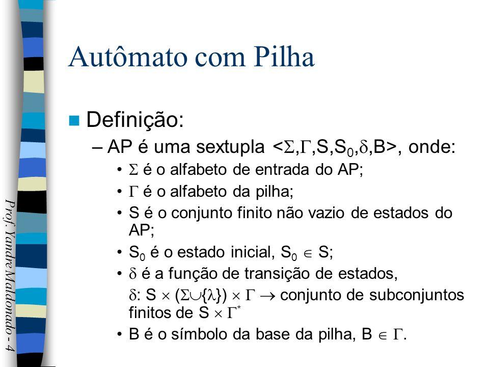 Autômato com Pilha Ao contrário da fita de entrada, a pilha pode ser lida e alterada durante um processamento; O autômato verifica o conteúdo do topo da pilha, retira-o e substitui por uma cadeia *.