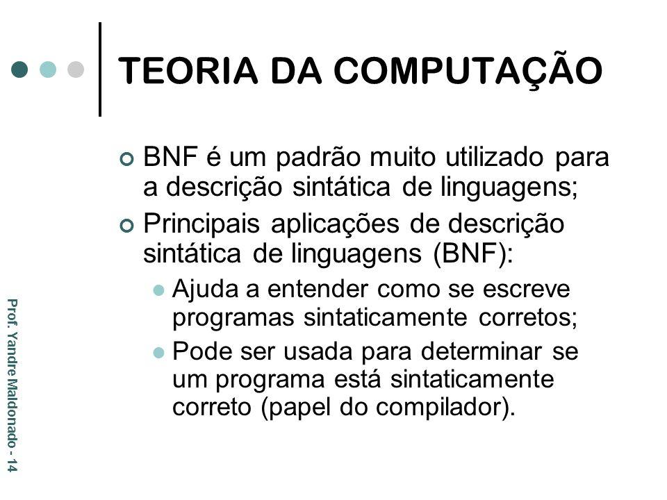 TEORIA DA COMPUTAÇÃO BNF é um padrão muito utilizado para a descrição sintática de linguagens; Principais aplicações de descrição sintática de linguag