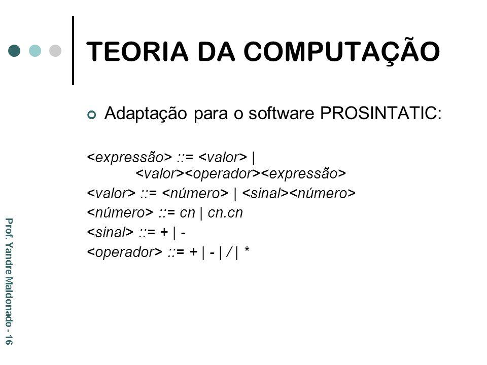 TEORIA DA COMPUTAÇÃO Adaptação para o software PROSINTATIC: ::= | ::= cn | cn.cn ::= + | - ::= + | - | / | * Prof. Yandre Maldonado - 16