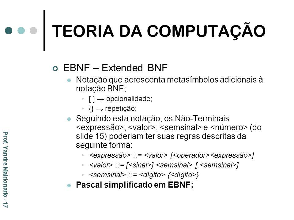 TEORIA DA COMPUTAÇÃO EBNF – Extended BNF Notação que acrescenta metasímbolos adicionais à notação BNF; [ ] opcionalidade; {} repetição; Seguindo esta