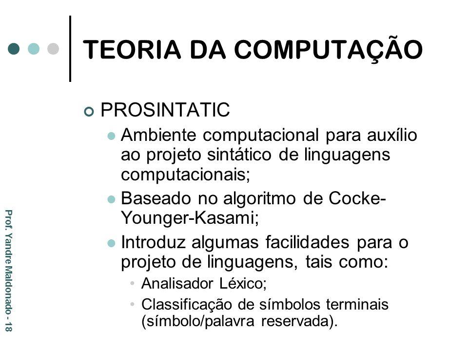 TEORIA DA COMPUTAÇÃO PROSINTATIC Ambiente computacional para auxílio ao projeto sintático de linguagens computacionais; Baseado no algoritmo de Cocke-