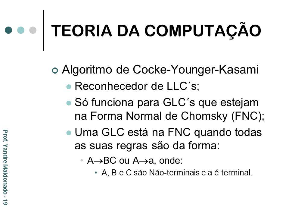 TEORIA DA COMPUTAÇÃO Algoritmo de Cocke-Younger-Kasami Reconhecedor de LLC´s; Só funciona para GLC´s que estejam na Forma Normal de Chomsky (FNC); Uma