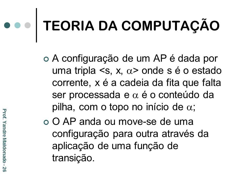 A configuração de um AP é dada por uma tripla onde s é o estado corrente, x é a cadeia da fita que falta ser processada e é o conteúdo da pilha, com o