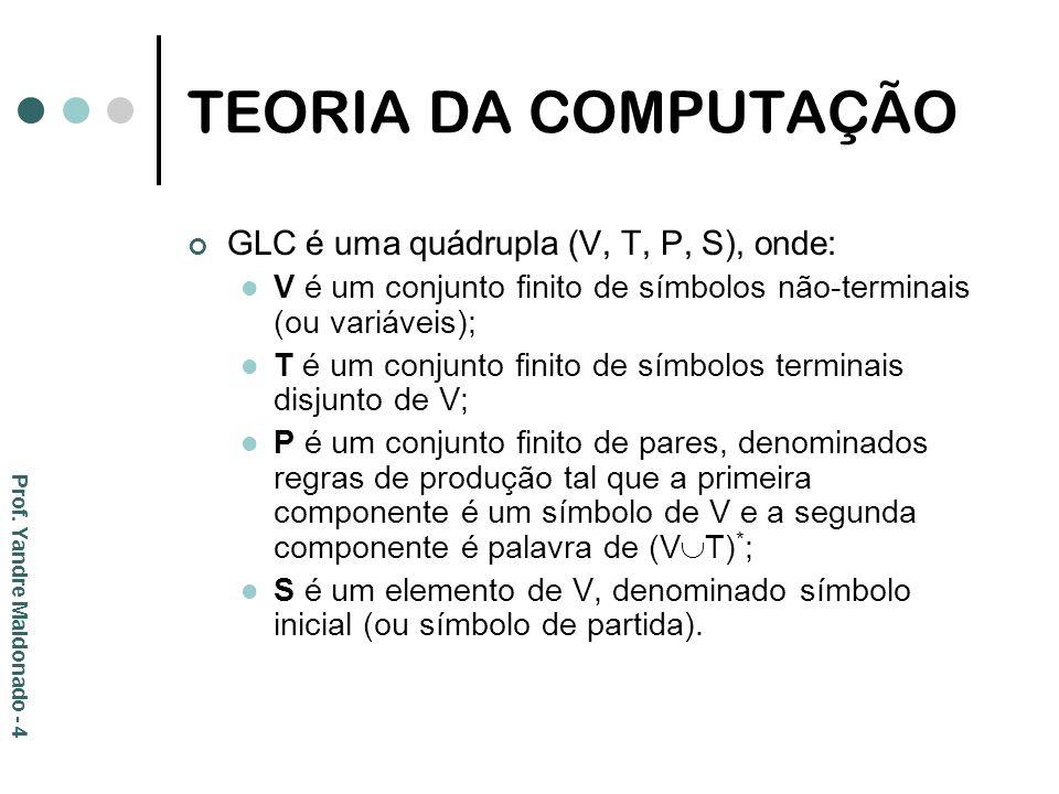 TEORIA DA COMPUTAÇÃO GLC é uma quádrupla (V, T, P, S), onde: V é um conjunto finito de símbolos não-terminais (ou variáveis); T é um conjunto finito d