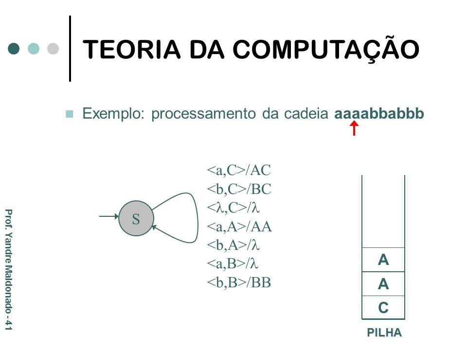 Exemplo: processamento da cadeia aaaabbabbb PILHA C S /AC /BC / /AA / /BB A A TEORIA DA COMPUTAÇÃO Prof. Yandre Maldonado - 41