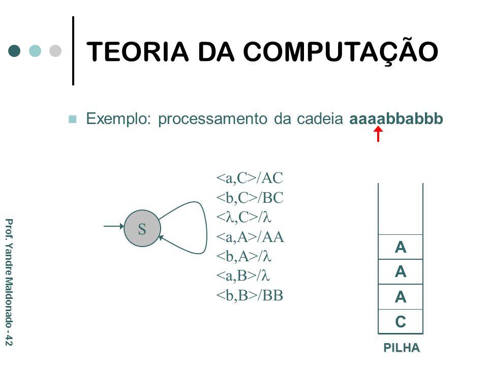 Exemplo: processamento da cadeia aaaabbabbb PILHA C S /AC /BC / /AA / /BB A A A TEORIA DA COMPUTAÇÃO Prof. Yandre Maldonado - 42