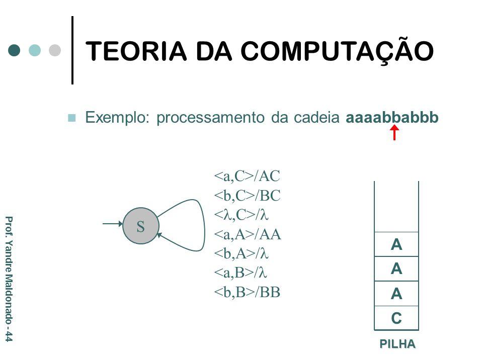 Exemplo: processamento da cadeia aaaabbabbb PILHA C S /AC /BC / /AA / /BB A A A TEORIA DA COMPUTAÇÃO Prof. Yandre Maldonado - 44