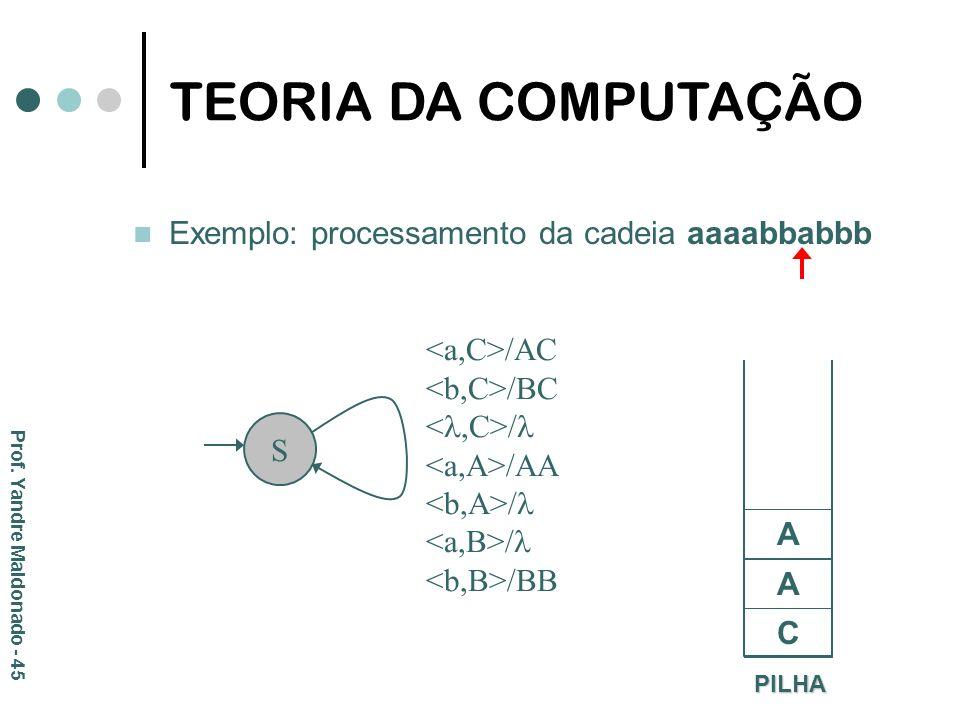 Exemplo: processamento da cadeia aaaabbabbb PILHA C S /AC /BC / /AA / /BB A A TEORIA DA COMPUTAÇÃO Prof. Yandre Maldonado - 45