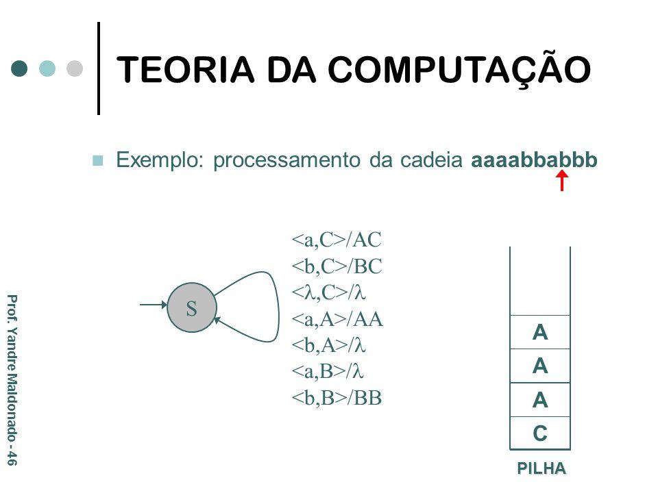 Exemplo: processamento da cadeia aaaabbabbb PILHA C S /AC /BC / /AA / /BB A A A TEORIA DA COMPUTAÇÃO Prof. Yandre Maldonado - 46