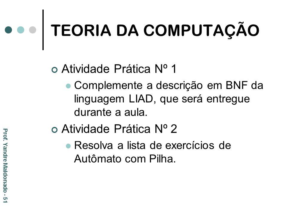 TEORIA DA COMPUTAÇÃO Atividade Prática Nº 1 Complemente a descrição em BNF da linguagem LIAD, que será entregue durante a aula. Atividade Prática Nº 2