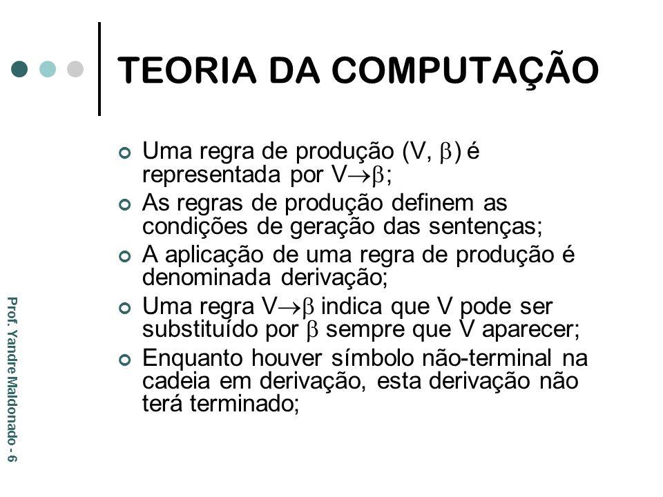 TEORIA DA COMPUTAÇÃO Uma regra de produção (V, ) é representada por V ; As regras de produção definem as condições de geração das sentenças; A aplicaç