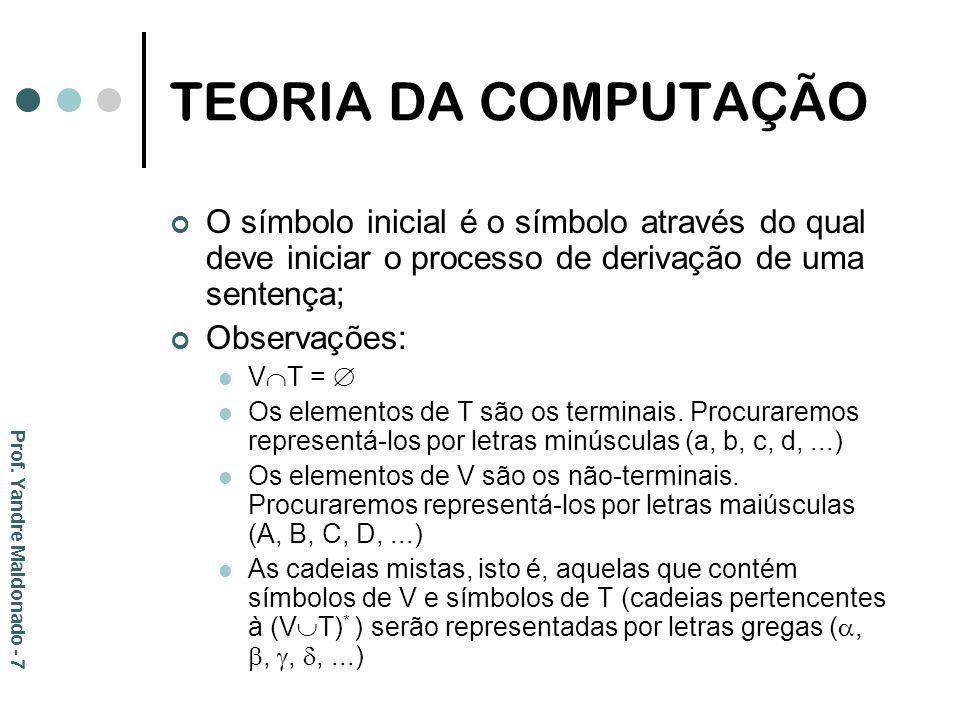 TEORIA DA COMPUTAÇÃO O símbolo inicial é o símbolo através do qual deve iniciar o processo de derivação de uma sentença; Observações: V T = Os element