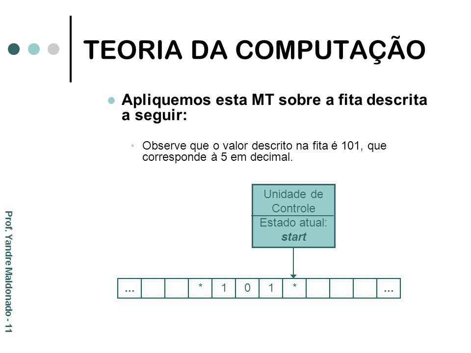 TEORIA DA COMPUTAÇÃO Apliquemos esta MT sobre a fita descrita a seguir: Observe que o valor descrito na fita é 101, que corresponde à 5 em decimal. Pr