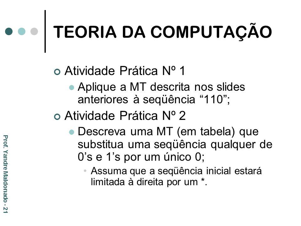 TEORIA DA COMPUTAÇÃO Atividade Prática Nº 1 Aplique a MT descrita nos slides anteriores à seqüência 110; Atividade Prática Nº 2 Descreva uma MT (em ta