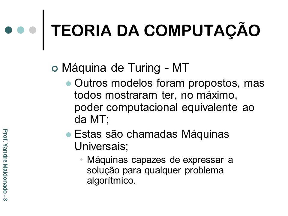 TEORIA DA COMPUTAÇÃO Prof. Yandre Maldonado - 3 Máquina de Turing - MT Outros modelos foram propostos, mas todos mostraram ter, no máximo, poder compu