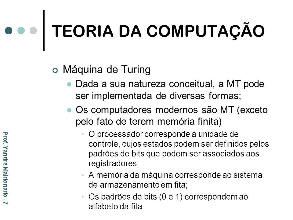 TEORIA DA COMPUTAÇÃO Importância da MT para a Ciência da Computação: A potência computacional da MT é tão grande quanto a de qualquer sistema algorítmico; Se um problema não puder ser resolvido por uma MT, não poderá ser resolvido por qualquer sistema algorítmico; MT representa a fronteira teórica da capacidade computacional para as máquinas modernas reais.