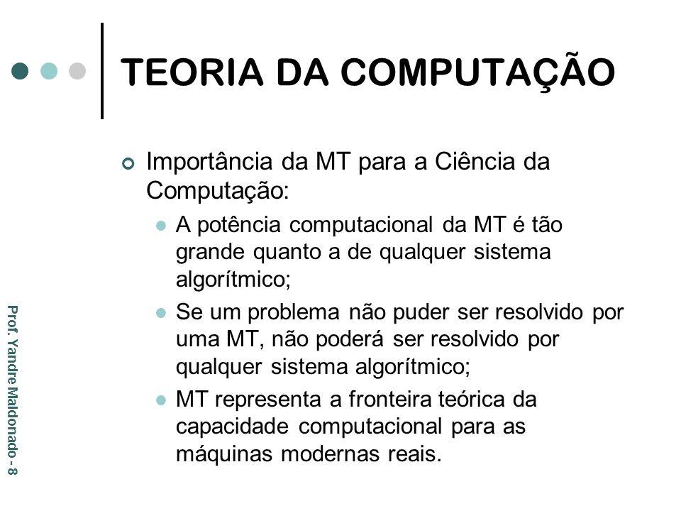 TEORIA DA COMPUTAÇÃO Importância da MT para a Ciência da Computação: A potência computacional da MT é tão grande quanto a de qualquer sistema algorítm