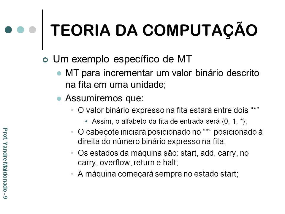 TEORIA DA COMPUTAÇÃO Um exemplo específico de MT MT para incrementar um valor binário descrito na fita em uma unidade; Assumiremos que: O valor binári