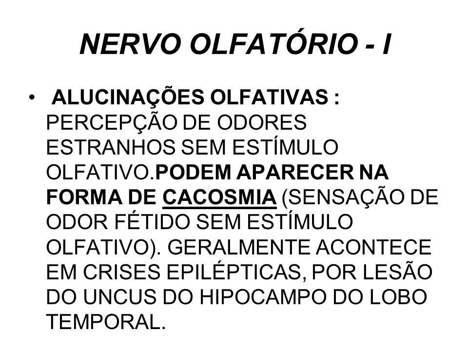 NERVO OLFATÓRIO - I ALUCINAÇÕES OLFATIVAS : PERCEPÇÃO DE ODORES ESTRANHOS SEM ESTÍMULO OLFATIVO.PODEM APARECER NA FORMA DE CACOSMIA (SENSAÇÃO DE ODOR