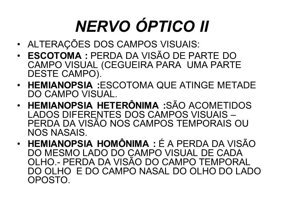 NERVO ÓPTICO II ALTERAÇÕES DOS CAMPOS VISUAIS: ESCOTOMA : PERDA DA VISÃO DE PARTE DO CAMPO VISUAL (CEGUEIRA PARA UMA PARTE DESTE CAMPO). HEMIANOPSIA :
