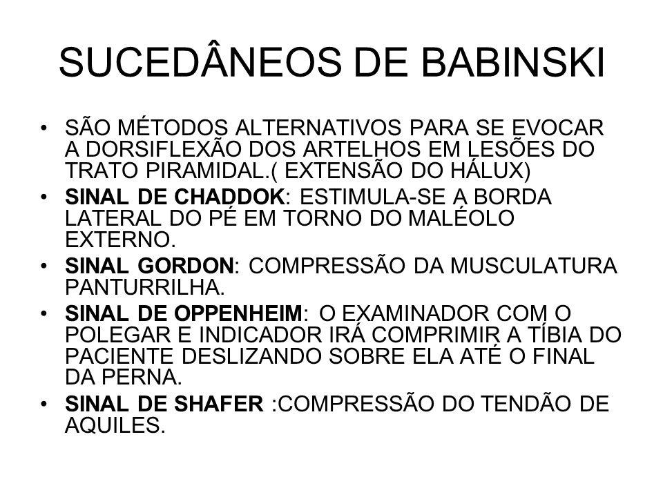SUCEDÂNEOS DE BABINSKI SÃO MÉTODOS ALTERNATIVOS PARA SE EVOCAR A DORSIFLEXÃO DOS ARTELHOS EM LESÕES DO TRATO PIRAMIDAL.( EXTENSÃO DO HÁLUX) SINAL DE C