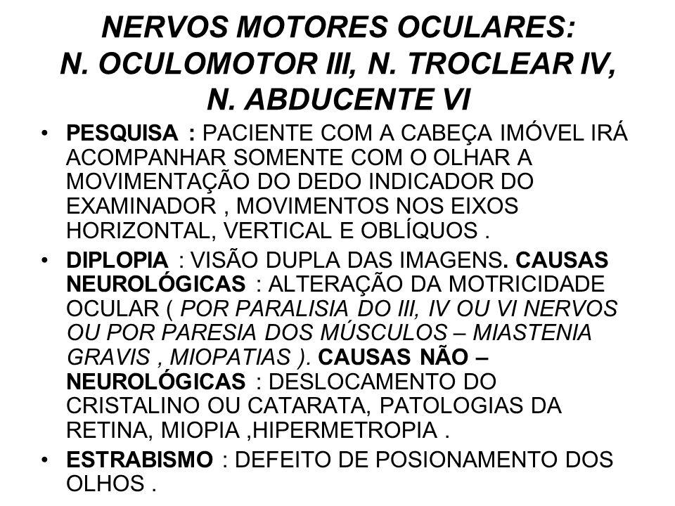 NERVOS MOTORES OCULARES: N. OCULOMOTOR III, N. TROCLEAR IV, N. ABDUCENTE VI PESQUISA : PACIENTE COM A CABEÇA IMÓVEL IRÁ ACOMPANHAR SOMENTE COM O OLHAR