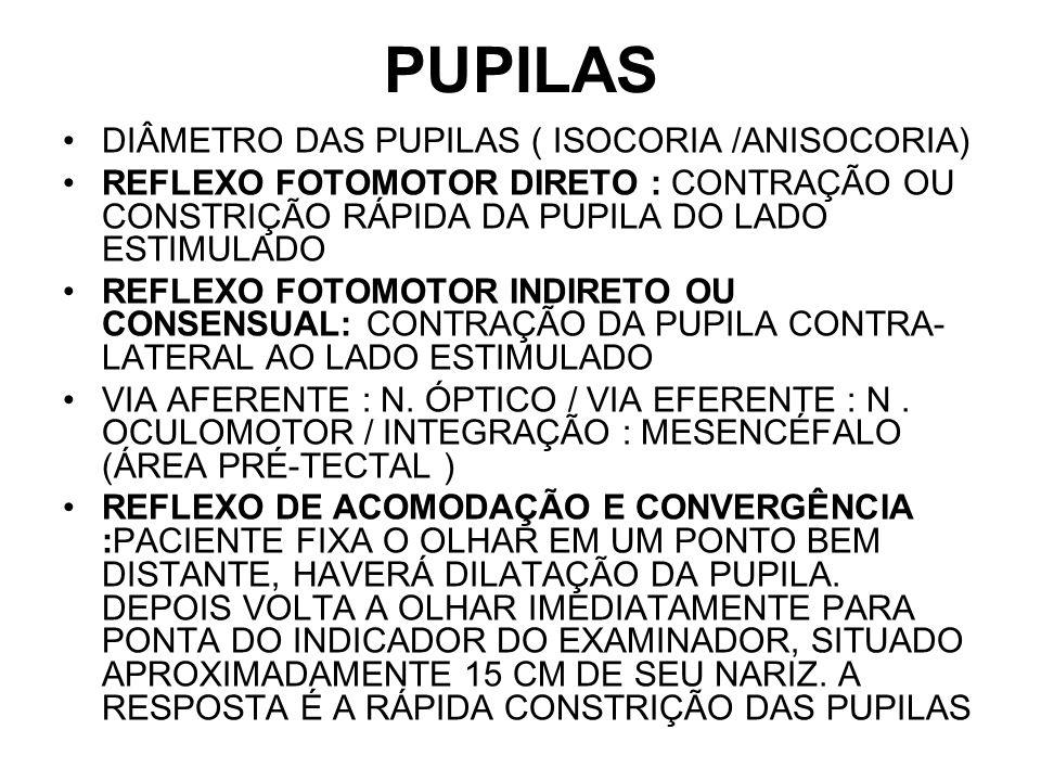 PUPILAS DIÂMETRO DAS PUPILAS ( ISOCORIA /ANISOCORIA) REFLEXO FOTOMOTOR DIRETO : CONTRAÇÃO OU CONSTRIÇÃO RÁPIDA DA PUPILA DO LADO ESTIMULADO REFLEXO FO