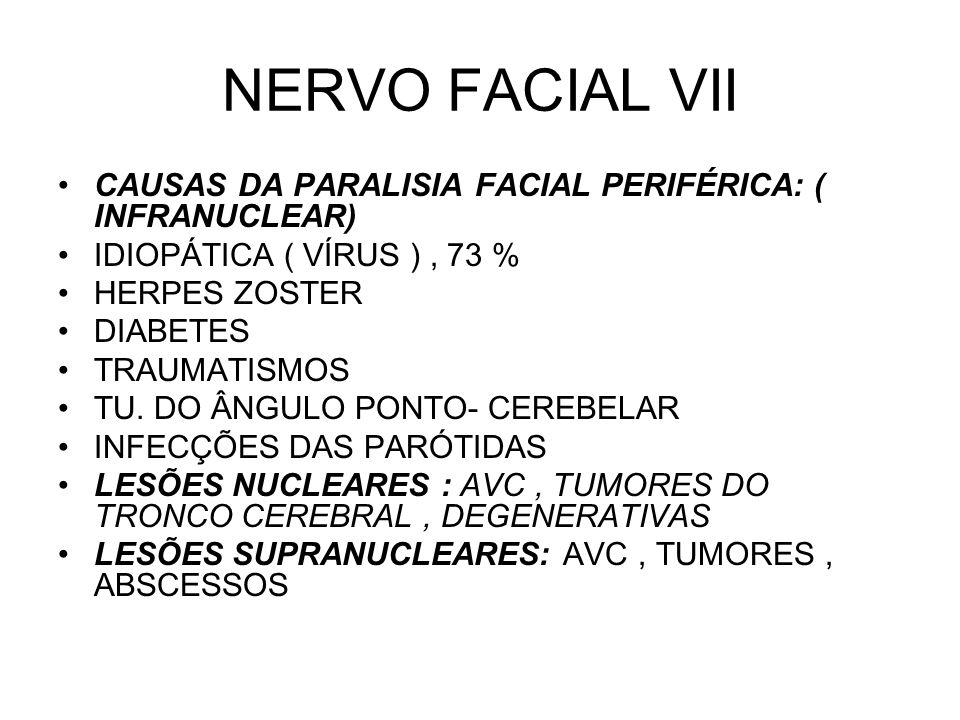 NERVO FACIAL VII CAUSAS DA PARALISIA FACIAL PERIFÉRICA: ( INFRANUCLEAR) IDIOPÁTICA ( VÍRUS ), 73 % HERPES ZOSTER DIABETES TRAUMATISMOS TU. DO ÂNGULO P