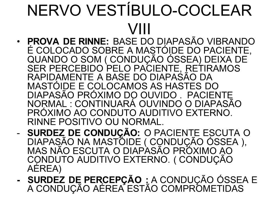 NERVO VESTÍBULO-COCLEAR VIII PROVA DE RINNE: BASE DO DIAPASÃO VIBRANDO É COLOCADO SOBRE A MASTÓIDE DO PACIENTE, QUANDO O SOM ( CONDUÇÃO ÓSSEA) DEIXA D