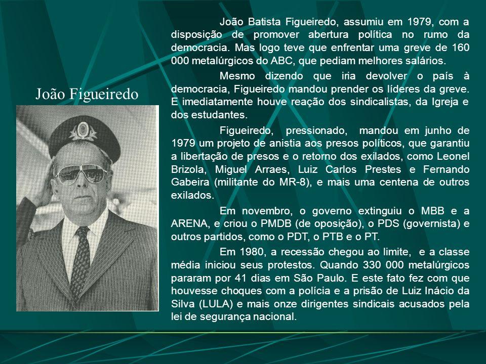João Figueiredo João Batista Figueiredo, assumiu em 1979, com a disposição de promover abertura política no rumo da democracia.