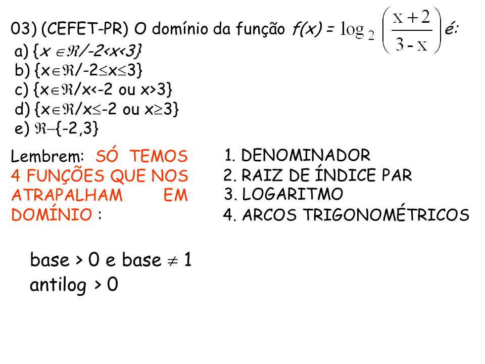 03) (CEFET-PR) O domínio da função f(x) = é: a) {x /-2<x<3} b) {x /-2 x 3} c) {x /x 3} d) {x /x -2 ou x 3} e) {-2,3} Lembrem: SÓ TEMOS 4 FUNÇÕES QUE N