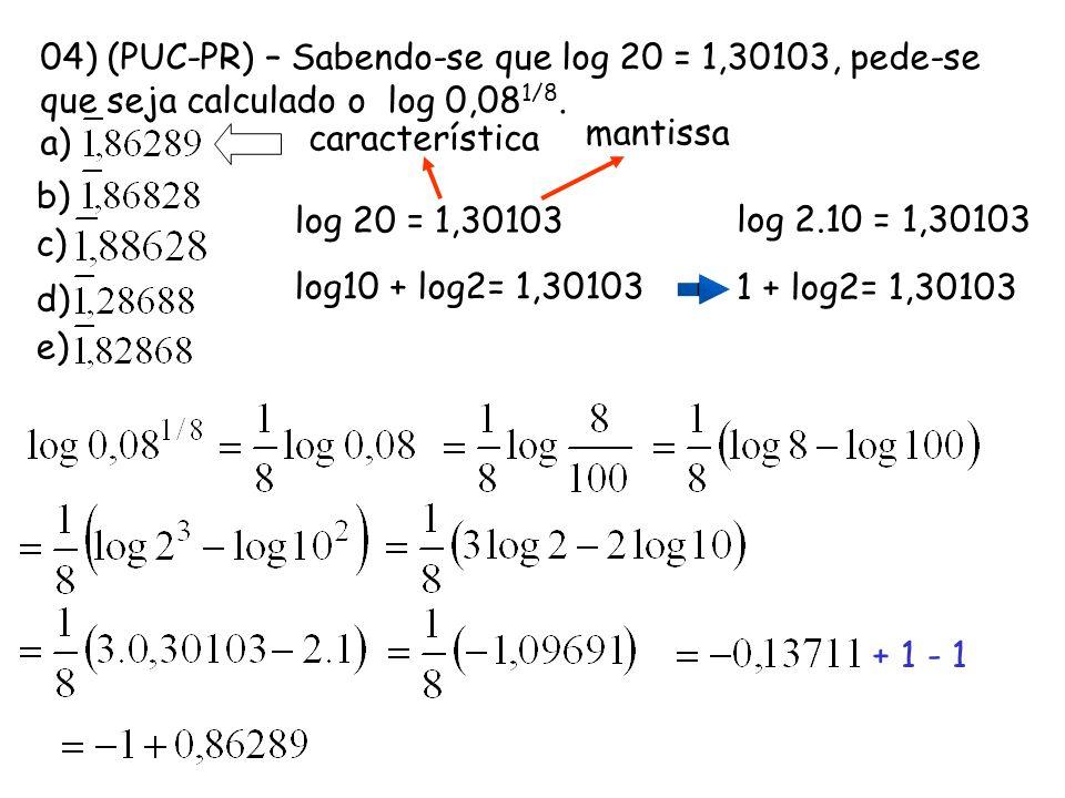 04) (PUC-PR) – Sabendo-se que log 20 = 1,30103, pede-se que seja calculado o log 0,08 1/8. a) b) c) d) e) log 20 = 1,30103 log 2.10 = 1,30103 log10 +