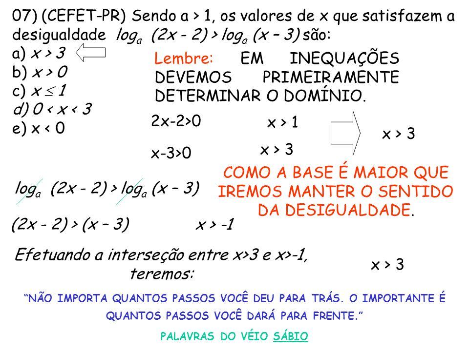 07) (CEFET-PR) Sendo a > 1, os valores de x que satisfazem a desigualdade log a (2x - 2) > log a (x – 3) são: a) x > 3 b) x > 0 c) x 1 d) 0 < x < 3 e)