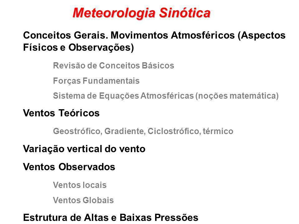 Meteorologia Sinótica Conceitos Gerais. Movimentos Atmosféricos (Aspectos Físicos e Observações) Revisão de Conceitos Básicos Forças Fundamentais Sist