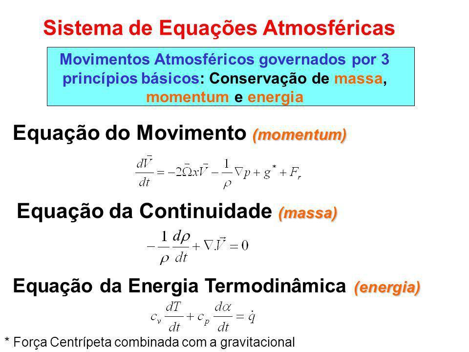 Sistema de Equações Atmosféricas (momentum) Equação do Movimento (momentum) Movimentos Atmosféricos governados por 3 princípios básicos: Conservação de massa, momentum e energia (massa) Equação da Continuidade (massa) (energia) Equação da Energia Termodinâmica (energia) * Força Centrípeta combinada com a gravitacional d