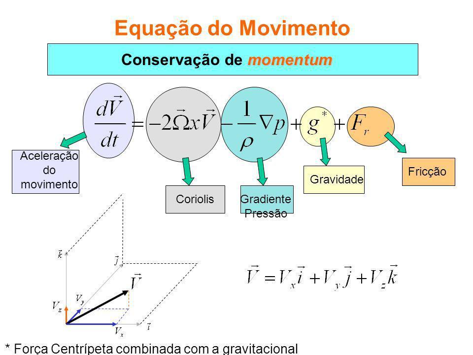 Fricção Gravidade Gradiente Pressão Coriolis Aceleração do movimento Equação do Movimento * Força Centrípeta combinada com a gravitacional momentum Conservação de momentum