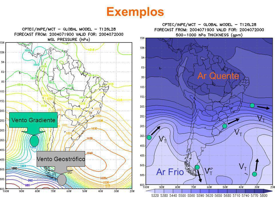 Ar Frio Ar Quente Exemplos Vento Gradiente Vento Geostrófico VTVT VTVT VTVT VTVT VTVT