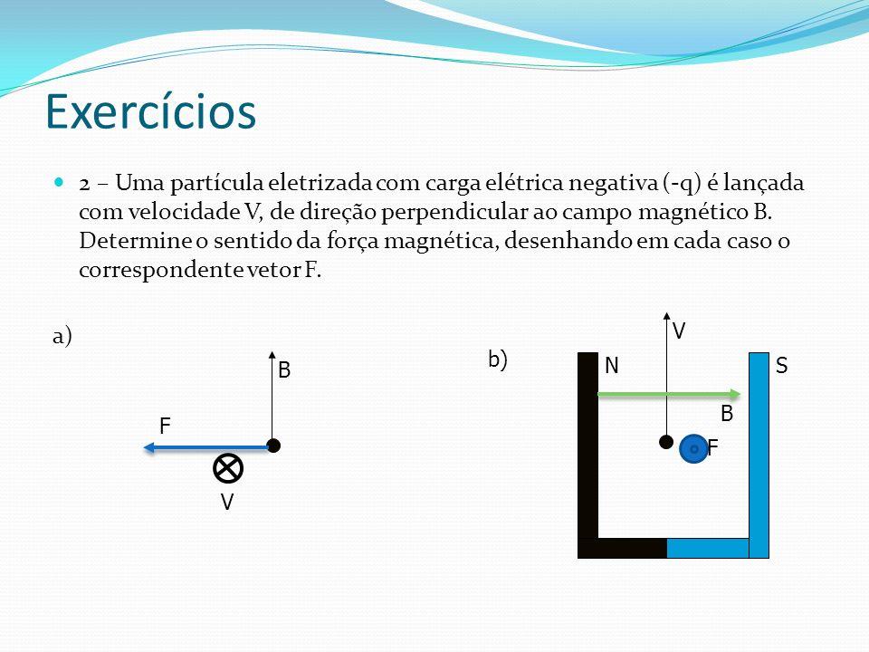 Exercícios 2 – Uma partícula eletrizada com carga elétrica negativa (-q) é lançada com velocidade V, de direção perpendicular ao campo magnético B.