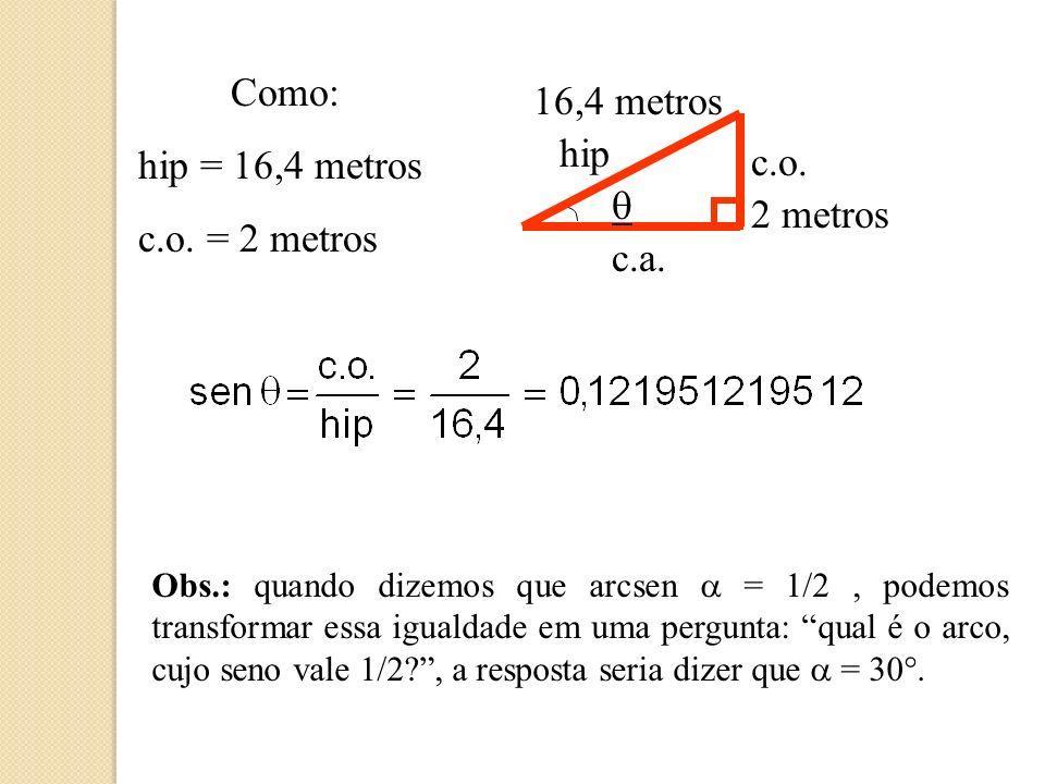 Observemos o triângulo retângulo em destaque...2 metros 16,4 metros hip c.o.