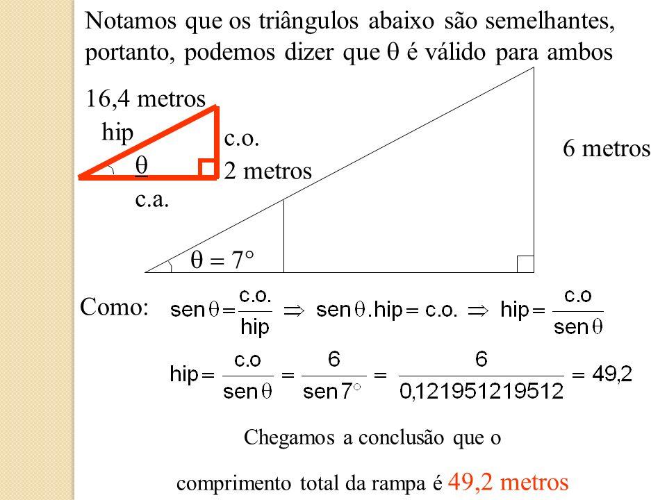 Em nosso exercício, chegamos a conclusão que: sen = 0,121951219512, logo podemos encontrar o ângulo, com o auxílio da calculadora que normalmente utiliza as funções ASIN ou SIN -1, então, devemos digitar 0,121951219512 e a opção acima de sua calculadora.