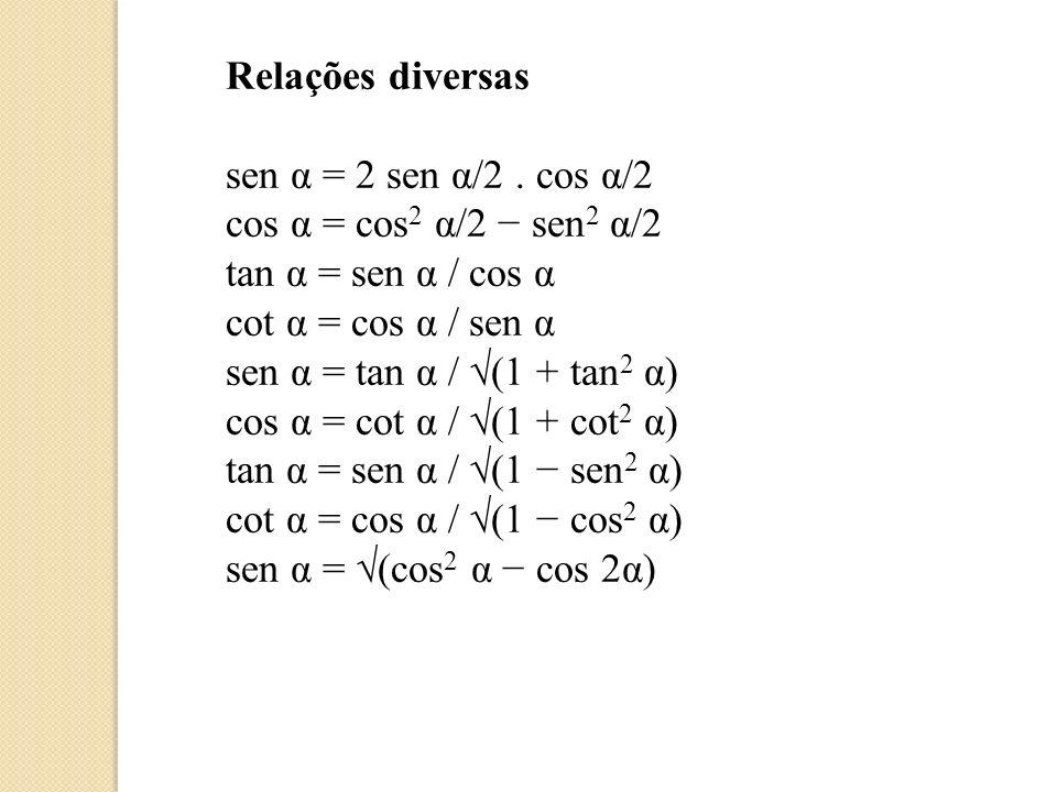 a sen x + b cos x = (a 2 + b 2 ) sen (x + φ) onde φ = arctan b/a se a 0 ou φ = arctan b/a ± π se a < 0 tan α ± tan β = sen (α ± β) / (cos α cos β) cot α ± cot β = sen (β ± α) / (sen α sen β) sen α sen β = (1/2) cos (α β) (1/2) cos (α + β) sen α cos β = (1/2) sen (α + β) + (1/2) sen (α β) cos α cos β = (1/2) cos (α + β) + (1/2) cos (α β) tan α tan β = (tan α + tan β) / (cot α + cot β) = (tan α tan β) / (cot α cotβ) cot α cot β = (cot α + cot β) / (tan α + tan β) = (cot α cot β) /(tan α tan β) cot α tan β = (cot α + tan β) / (tan α + cot β) = (cot α tan β) /(tan α cot β) RESUMÃO DE FÓRMULAS