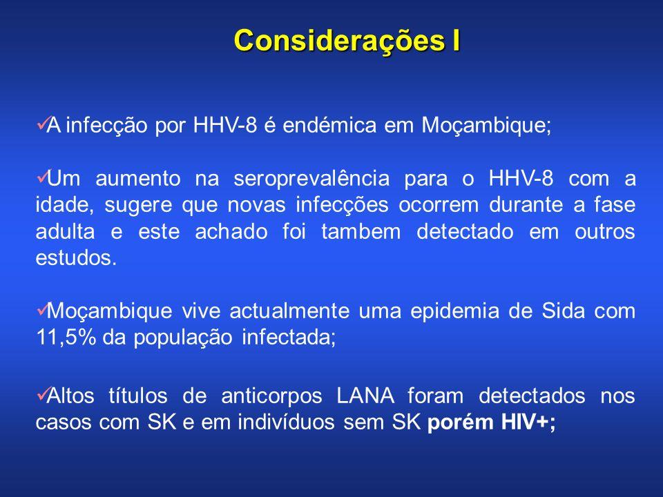Considerações I A infecção por HHV-8 é endémica em Moçambique; Um aumento na seroprevalência para o HHV-8 com a idade, sugere que novas infecções ocor