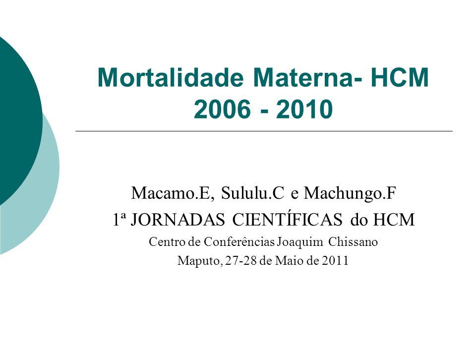 Mortalidade Materna- HCM 2006 - 2010 Macamo.E, Sululu.C e Machungo.F 1ª JORNADAS CIENTÍFICAS do HCM Centro de Conferências Joaquim Chissano Maputo, 27