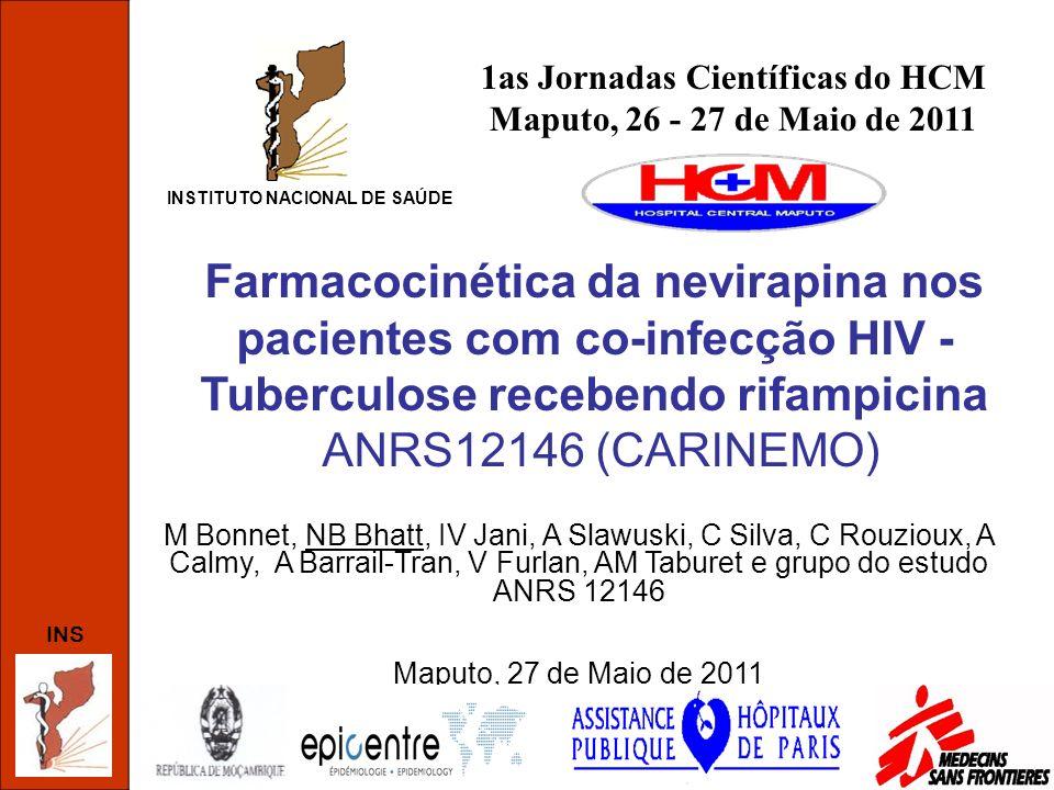 INS Introdução (1) TARV com base a NVP é a primeira opção nos países em desenvolvimento TB infecção oportunista + freqüente –Entre 40 – 60 % dos casos novos de TB co-infectados com HIV * Co-administração com RMP resulta em concentrações plasmáticas sub-terapêuticas –Potente indutor do Citocromo P450 EFV recomendado para o tratamento da TB concomitante Elevado custo e teratogenicidade de EFV limitam o uso Em Moçambique, o TARV é recomendado nos indivíduos com CD4<350 cel/mm 3 NVP (com dose de ataque) EFV 600mg/dia * http://www.who.int/countries/moz/areas/tuberculosis/en/index.html