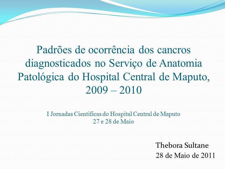 Padrões de ocorrência dos cancros diagnosticados no Serviço de Anatomia Patológica do Hospital Central de Maputo, 2009 – 2010 I Jornadas Cientificas do Hospital Central de Maputo 27 e 28 de Maio Thebora Sultane 28 de Maio de 2011